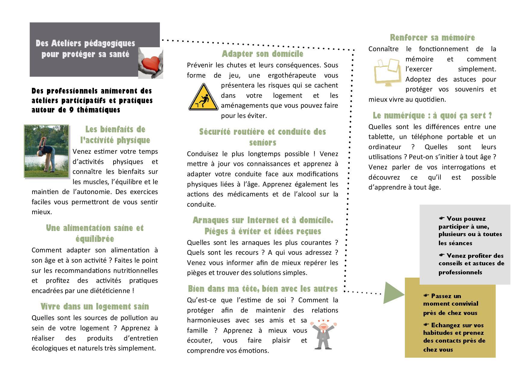 Ateliers de prévention + 60 ans
