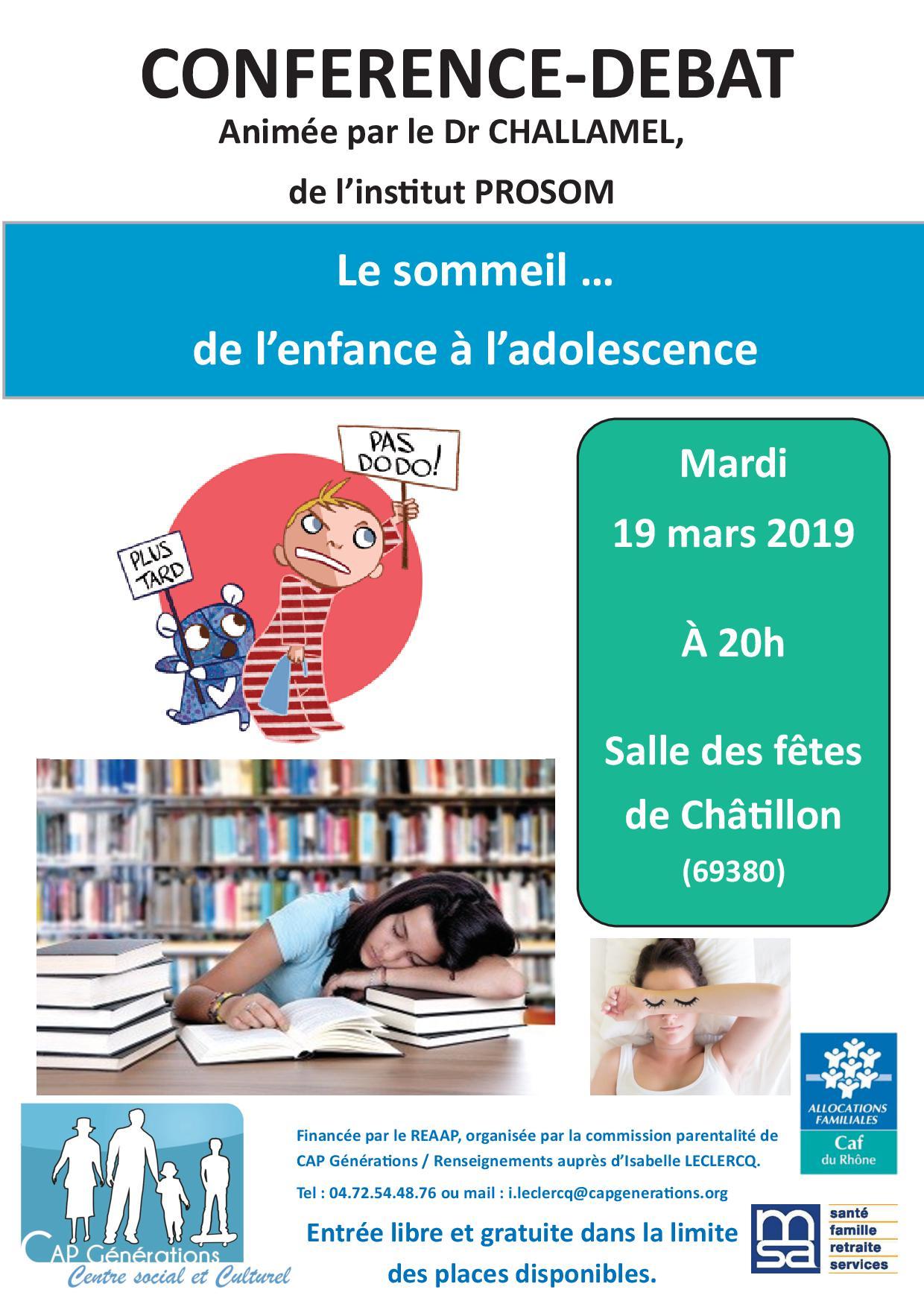 Affiche conférence sommeil de l'enfance à adolescence