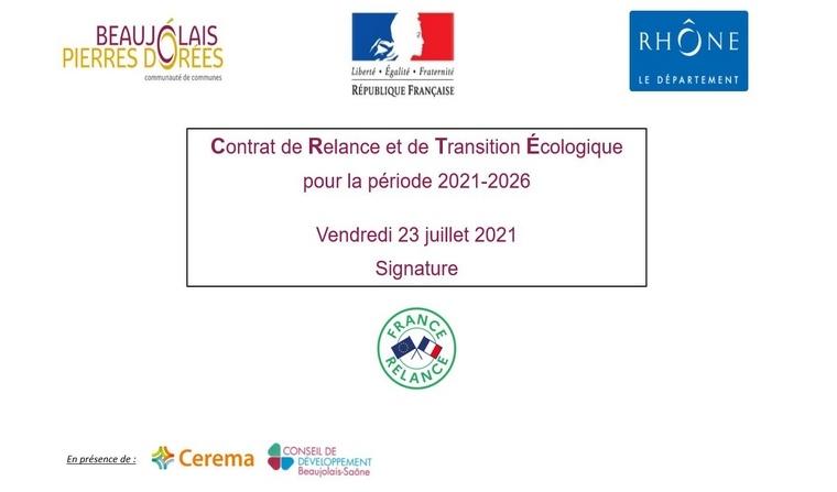 Signature le 23 juillet 2021 du CRTE